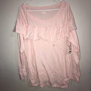 Lane Bryant Pink Long Sleeve Ruffle Top 14/16